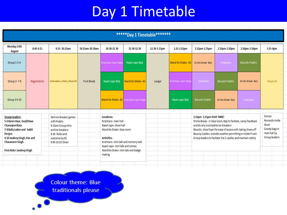 Day 1 Timetable Colour theme: Blue traditionals please