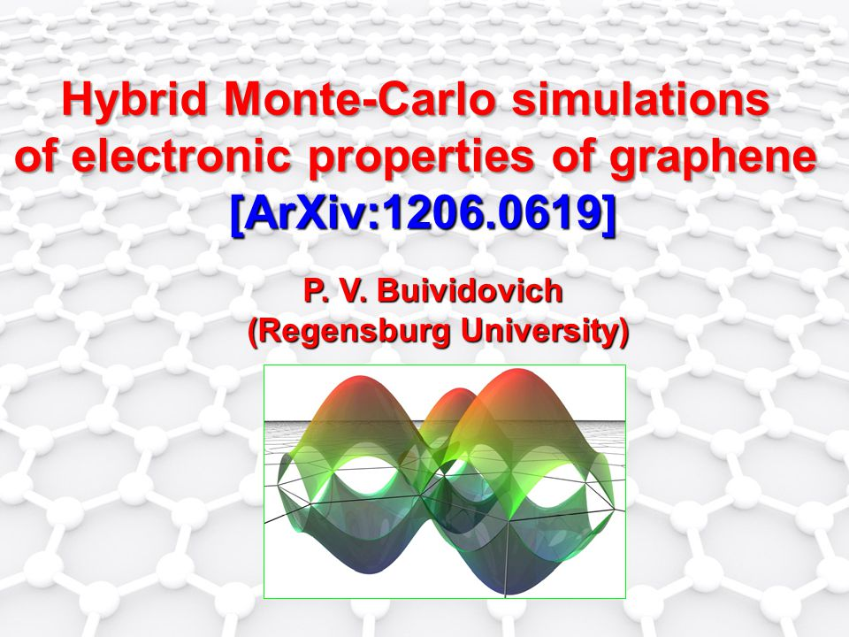 Hybrid Monte-Carlo simulations of electronic properties of graphene [ArXiv:1206.0619] P.