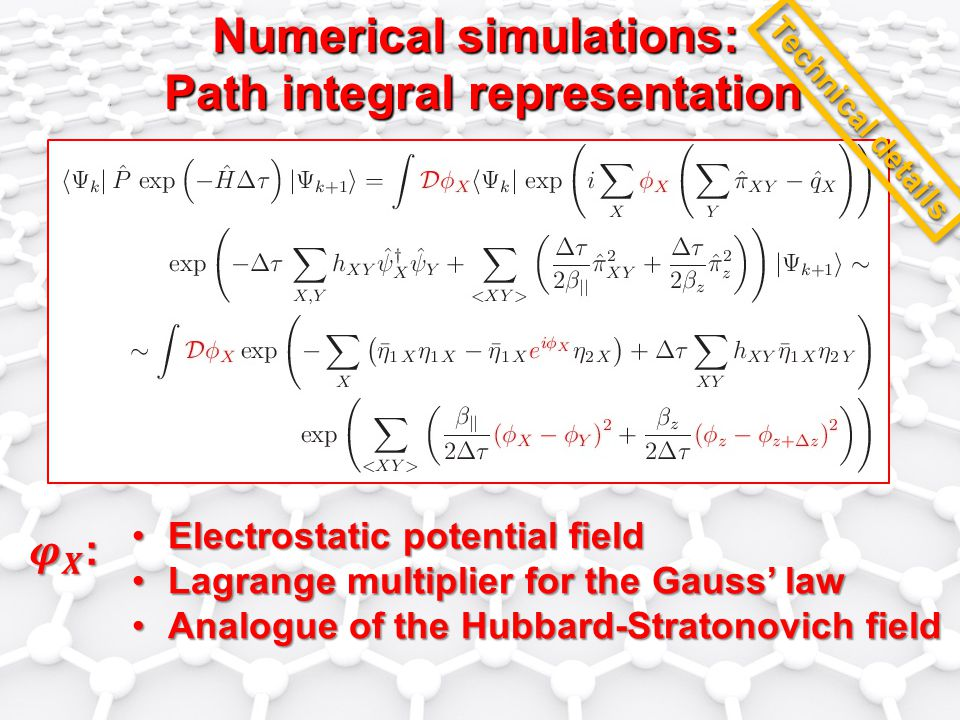 Numerical simulations: Path integral representation Electrostatic potential fieldElectrostatic potential field Lagrange multiplier for the Gauss' lawLagrange multiplier for the Gauss' law Analogue of the Hubbard-Stratonovich fieldAnalogue of the Hubbard-Stratonovich field Technical details