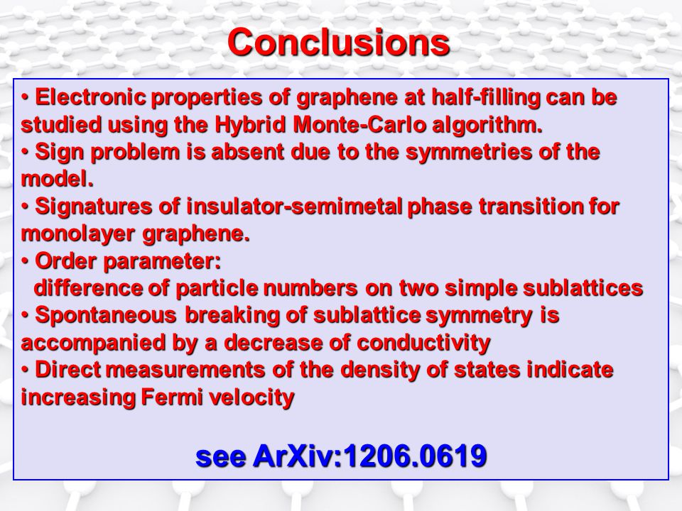 Conclusions Electronic properties of graphene at half-filling can be studied using the Hybrid Monte-Carlo algorithm.