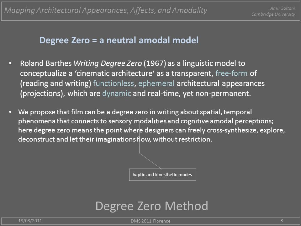 Degree Zero Method 18/08/2011 DMS 2011 Florence 3 Degree Zero = a neutral amodal model Roland Barthes Writing Degree Zero (1967) as a linguistic model to conceptualize a 'cinematic architecture' as a transparent, free-form of (reading and writing) functionless, ephemeral architectural appearances (projections), which are dynamic and real-time, yet non-permanent.