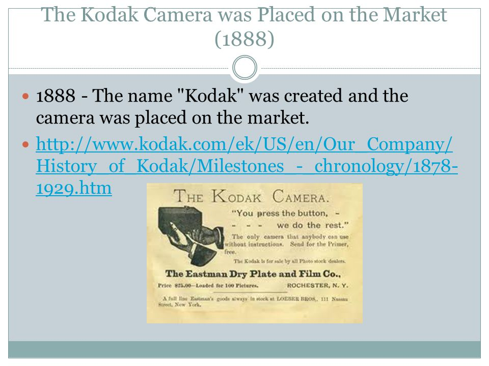 The Kodak Camera was Placed on the Market (1888) 1888 - The name Kodak was created and the camera was placed on the market.