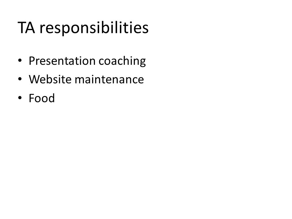 Presentation coaching Website maintenance Food