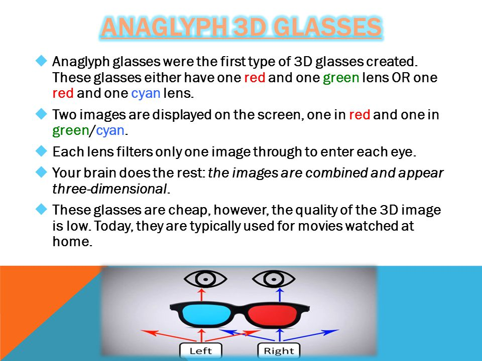  Anaglyph glasses were the first type of 3D glasses created.
