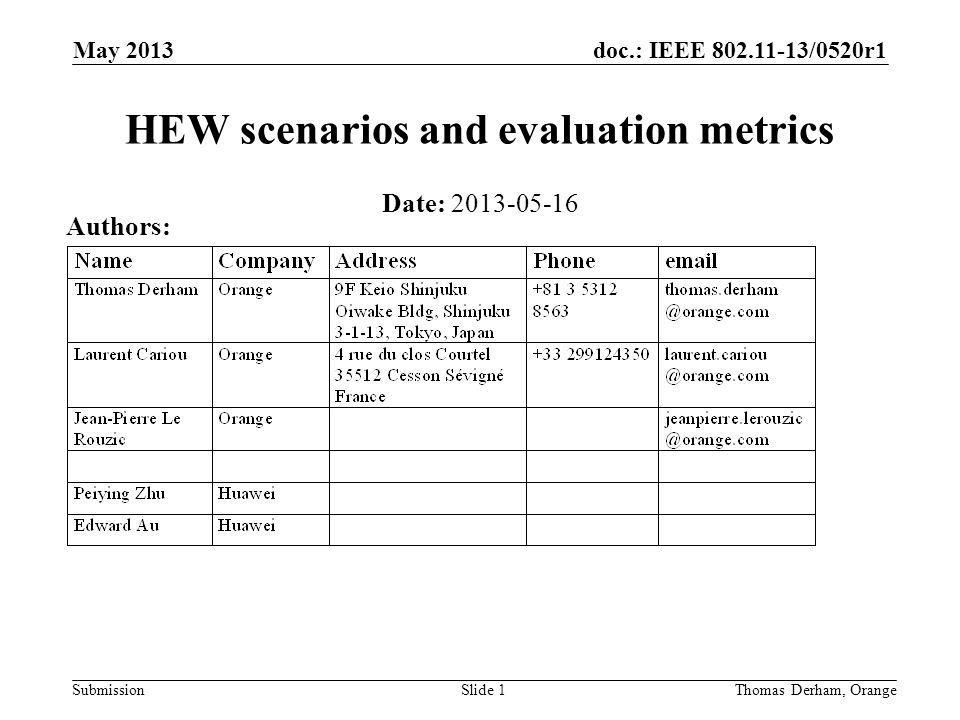 doc.: IEEE 802.11-13/0520r1 SubmissionThomas Derham, OrangeSlide 1 HEW scenarios and evaluation metrics Date: 2013-05-16 Authors: May 2013