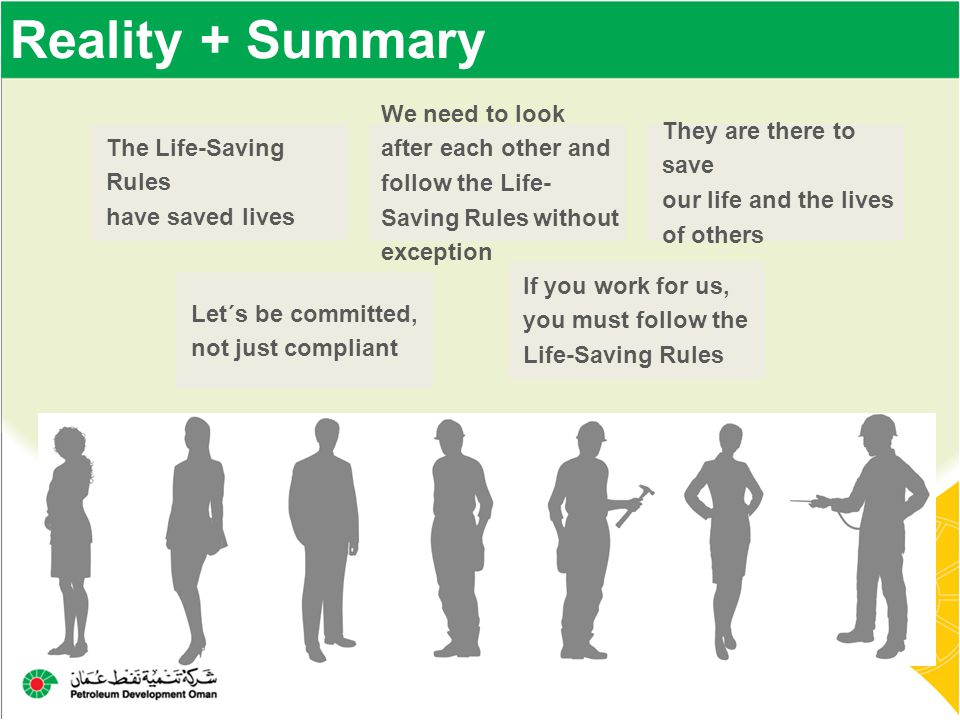 Reality + Summary The Life-Saving Rules have saved lives Let´s be committed, not just compliant We need to look after each other and follow the Life-