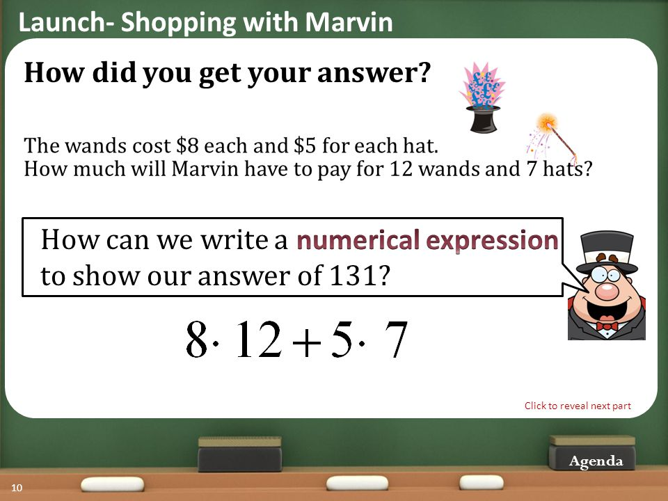 Agenda 10 How much will Marvin have to pay for 12 wands and 7 hats.