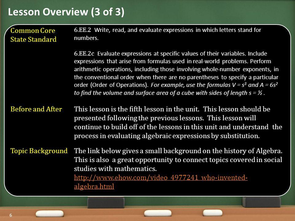 Warm Up Agenda 7 OBJECTIVE: SWBAT evaluate algebraic expressions.