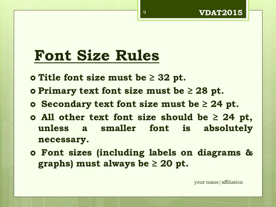 Font Size Rules  Title font size must be ≥ 32 pt.