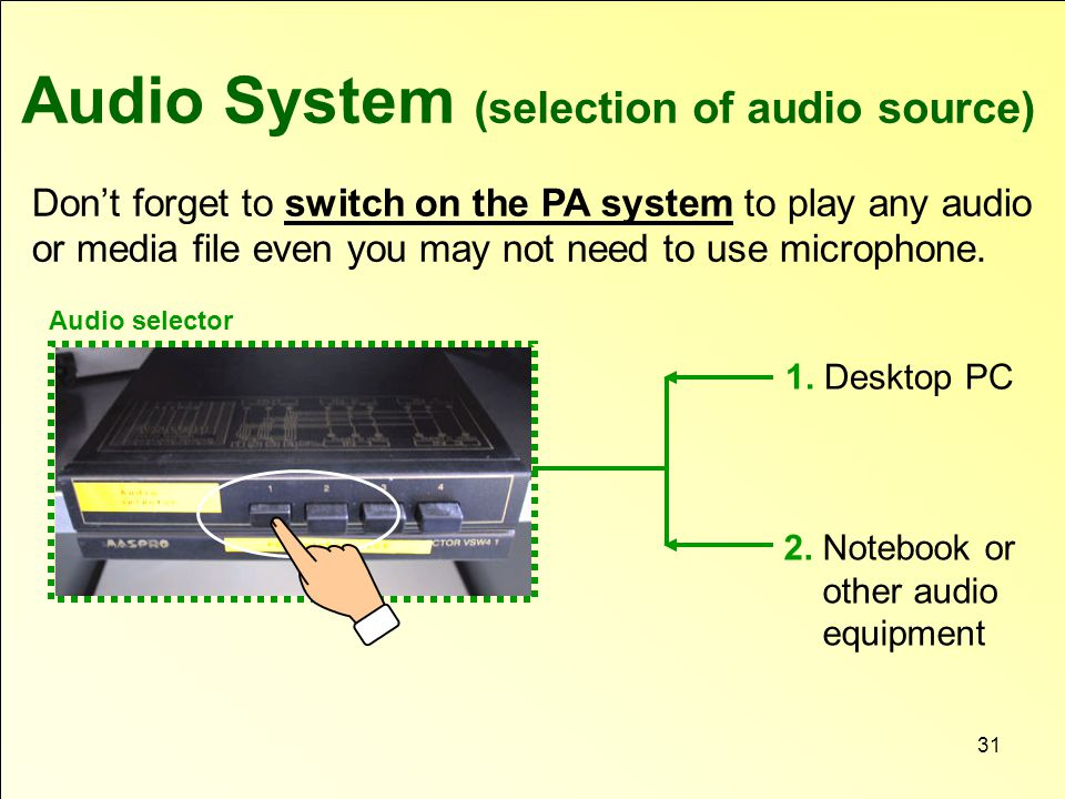 Audio System (selection of audio source) Don't forget to switch on the PA system to play any audio or media file even you may not need to use microphone.