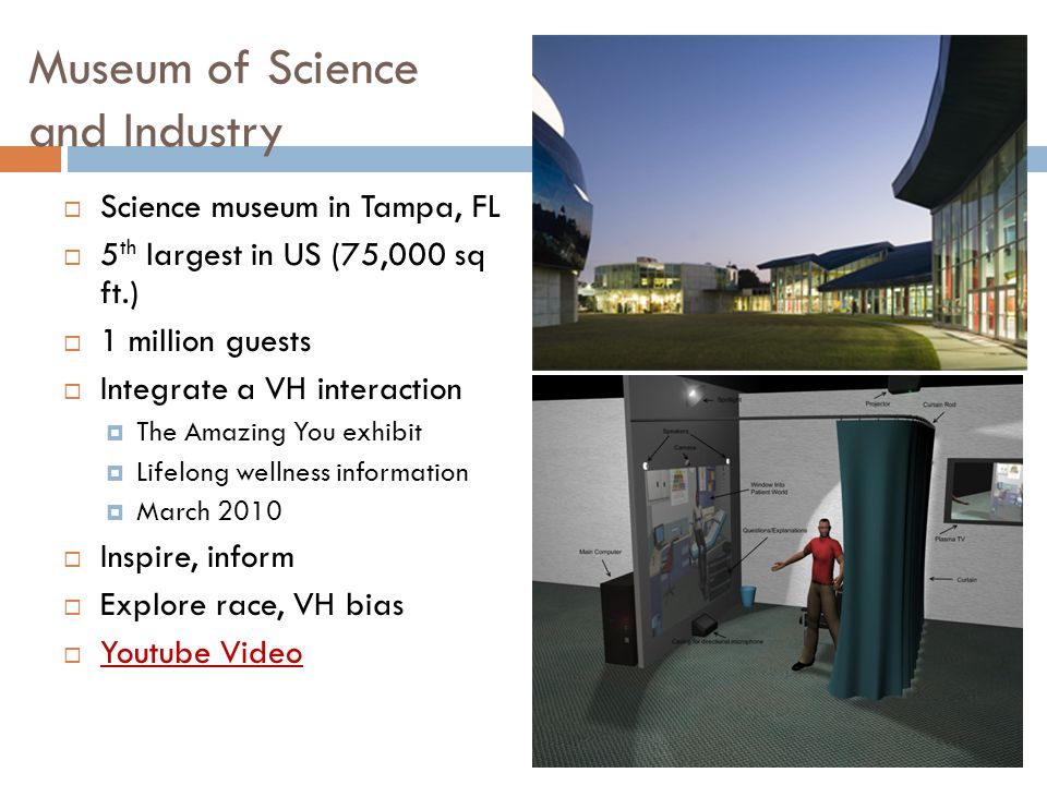 Museum of Science and Industry  Science museum in Tampa, FL  5 th largest in US (75,000 sq ft.)  1 million guests  Integrate a VH interaction  The Amazing You exhibit  Lifelong wellness information  March 2010  Inspire, inform  Explore race, VH bias  Youtube Video Youtube Video