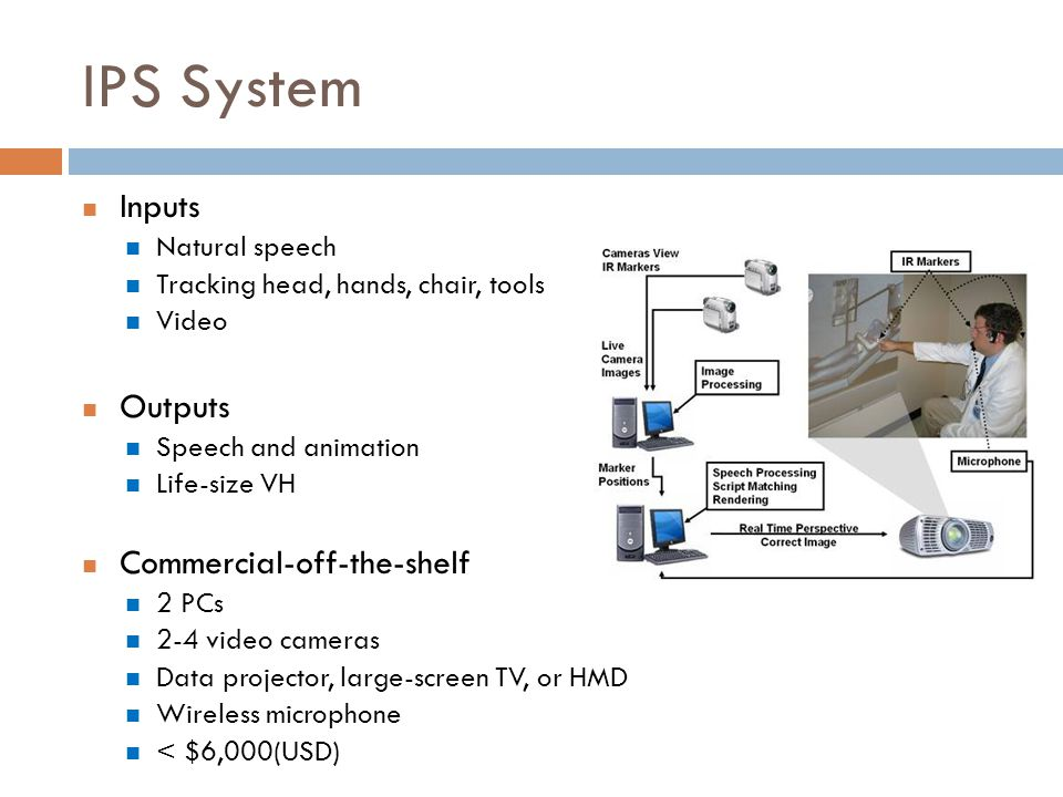 IPS System Inputs Natural speech Tracking head, hands, chair, tools Video Outputs Speech and animation Life-size VH Commercial-off-the-shelf 2 PCs 2-4 video cameras Data projector, large-screen TV, or HMD Wireless microphone < $6,000(USD)