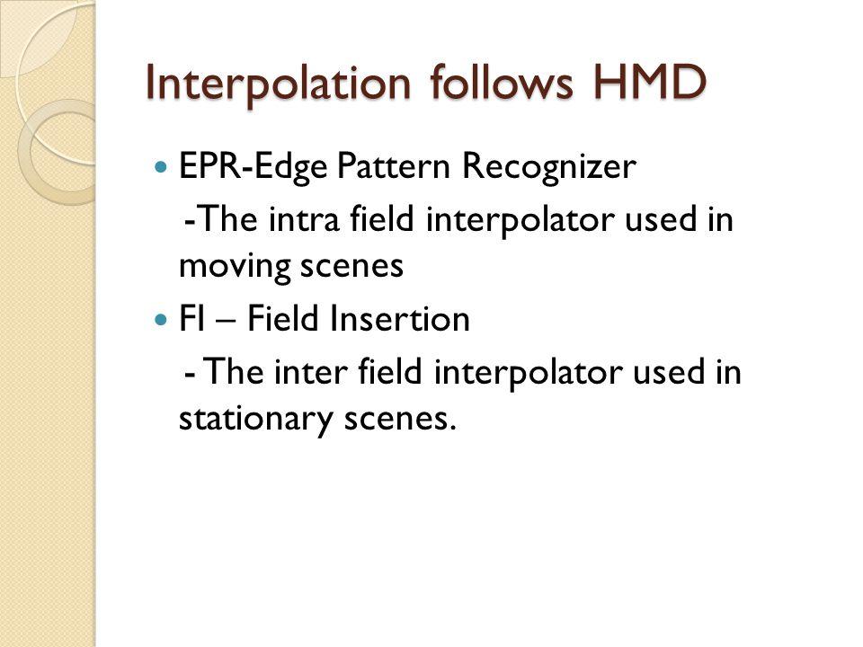Interpolation follows HMD EPR-Edge Pattern Recognizer -The intra field interpolator used in moving scenes FI – Field Insertion - The inter field inter