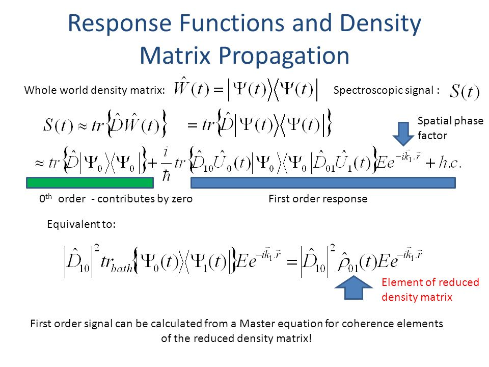 Response Functions and Density Matrix Propagation Spectroscopic signal : First order response Equivalent to: 0 th order - contributes by zero Element of reduced density matrix First order signal can be calculated from a Master equation for coherence elements of the reduced density matrix.