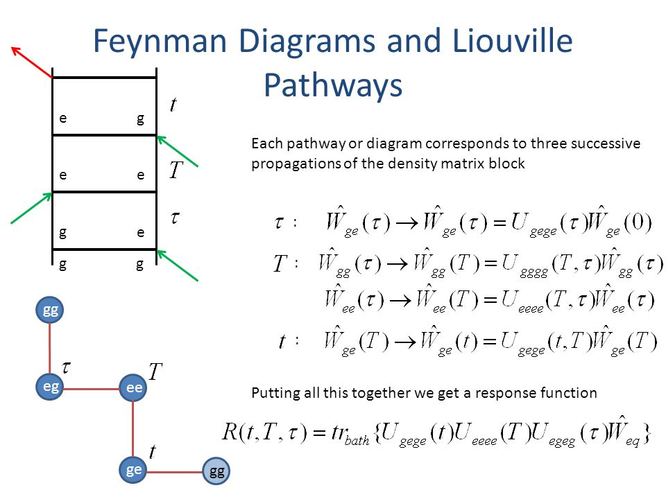 Feynman Diagrams and Liouville Pathways gg eg ee ge gg Each pathway or diagram corresponds to three successive propagations of the density matrix block : : : gg g e ee eg Putting all this together we get a response function