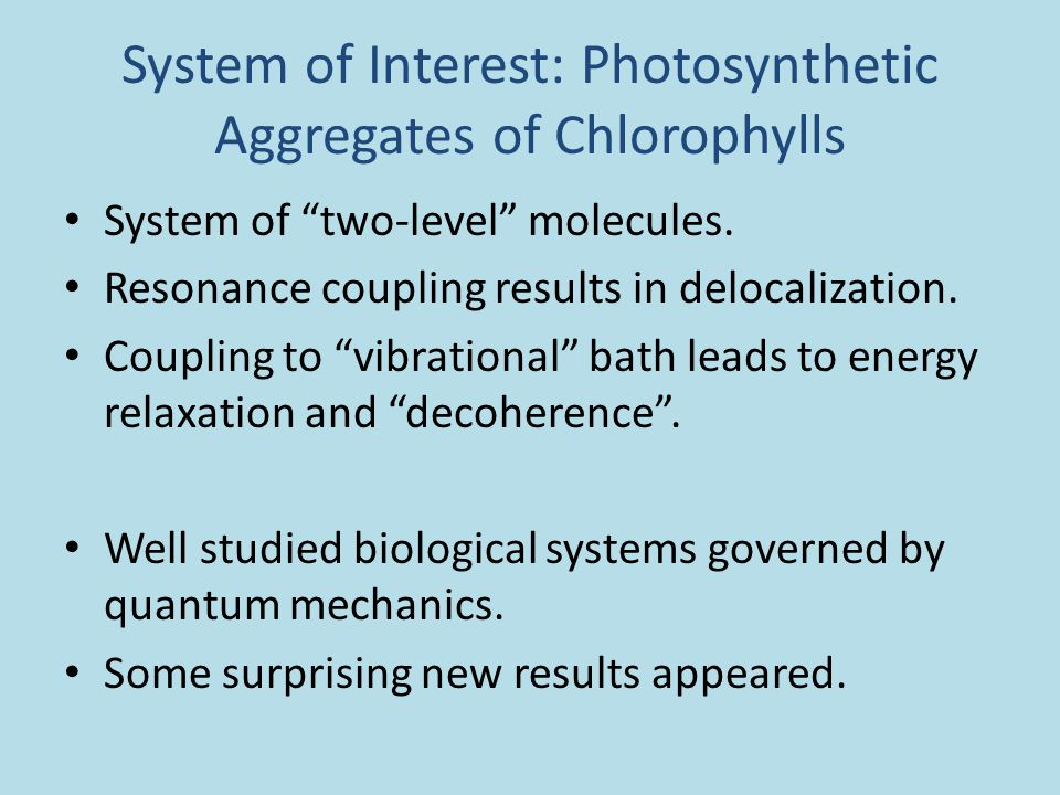 System of Interest: Photosynthetic Aggregates of Chlorophylls System of two-level molecules.