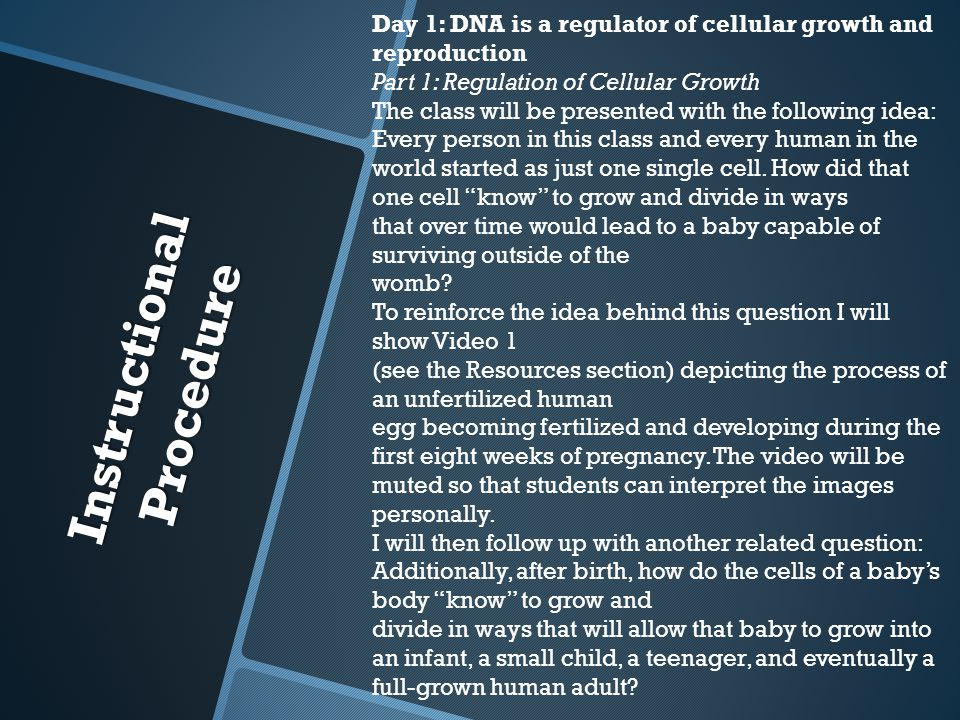 Instructional Procedure Day 1: DNA is a regulator of cellular growth and reproduction Part 1: Regulation of Cellular Growth The class will be presented with the following idea: Every person in this class and every human in the world started as just one single cell.