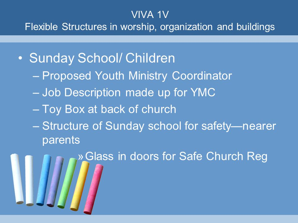 VIVA 1V Flexible Structures in worship, organization and buildings Sunday School/ Children –Proposed Youth Ministry Coordinator –Job Description made up for YMC –Toy Box at back of church –Structure of Sunday school for safety—nearer parents »Glass in doors for Safe Church Reg