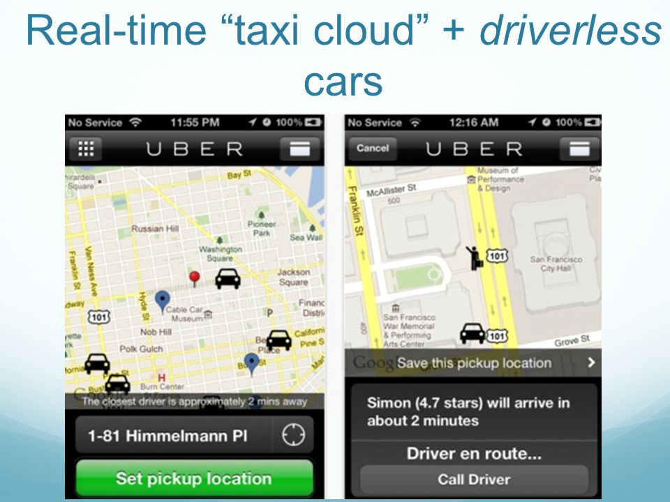 Real-time taxi cloud + driverless cars