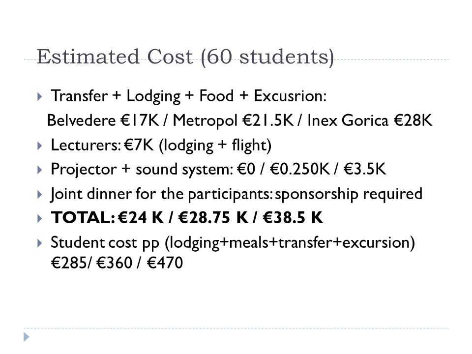 Estimated Cost (60 students)  Transfer + Lodging + Food + Excusrion: Belvedere €17K / Metropol €21.5K / Inex Gorica €28K  Lecturers: €7K (lodging + flight)  Projector + sound system: €0 / €0.250K / €3.5K  Joint dinner for the participants: sponsorship required  TOTAL: €24 K / €28.75 K / €38.5 K  Student cost pp (lodging+meals+transfer+excursion) €285/ €360 / €470