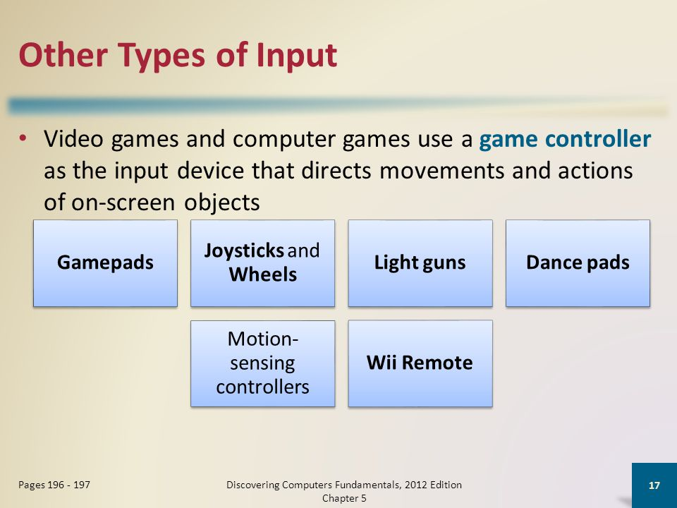 Other Types of Input Video games and computer games use a game controller as the input device that directs movements and actions of on-screen objects Discovering Computers Fundamentals, 2012 Edition Chapter 5 17 Pages 196 - 197 Gamepads Joysticks and Wheels Light gunsDance pads Motion- sensing controllers Wii Remote