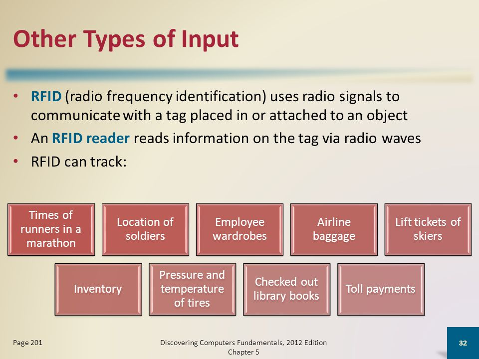 Other Types of Input RFID (radio frequency identification) uses radio signals to communicate with a tag placed in or attached to an object An RFID reader reads information on the tag via radio waves RFID can track: Discovering Computers Fundamentals, 2012 Edition Chapter 5 32 Page 201 Times of runners in a marathon Location of soldiers Employee wardrobes Airline baggage Lift tickets of skiers Inventory Pressure and temperature of tires Checked out library books Toll payments