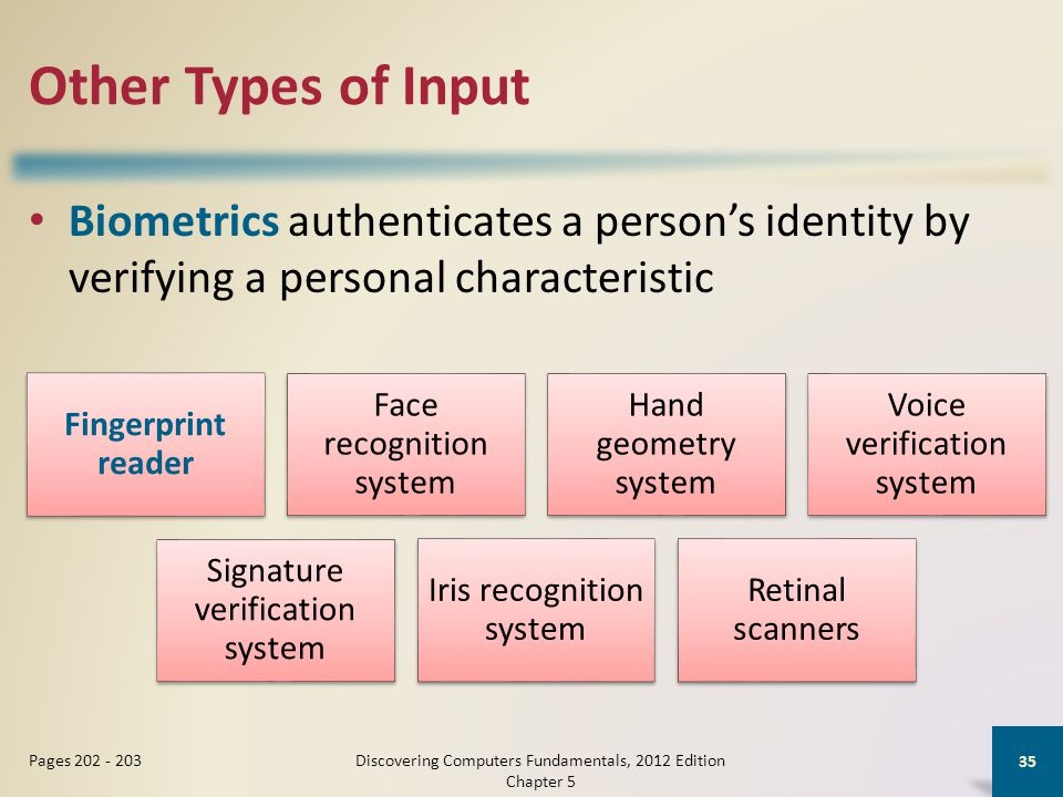 Other Types of Input Biometrics authenticates a person's identity by verifying a personal characteristic Discovering Computers Fundamentals, 2012 Edition Chapter 5 35 Pages 202 - 203 Fingerprint reader Face recognition system Hand geometry system Voice verification system Signature verification system Iris recognition system Retinal scanners