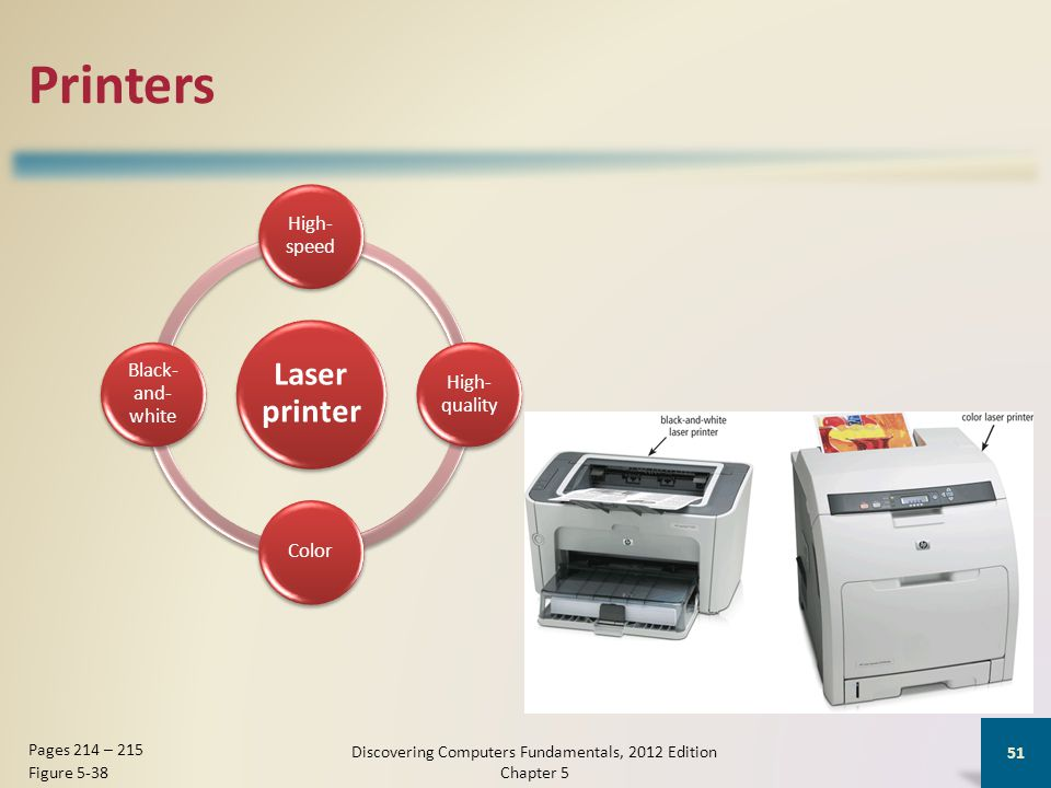 Printers Laser printer High- speed High- quality Color Black- and- white Discovering Computers Fundamentals, 2012 Edition Chapter 5 51 Pages 214 – 215 Figure 5-38