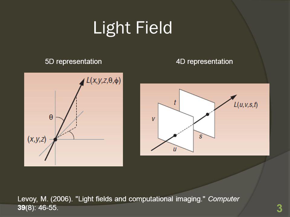 Light Field 3 Levoy, M. (2006). Light fields and computational imaging. Computer 39(8): 46-55.