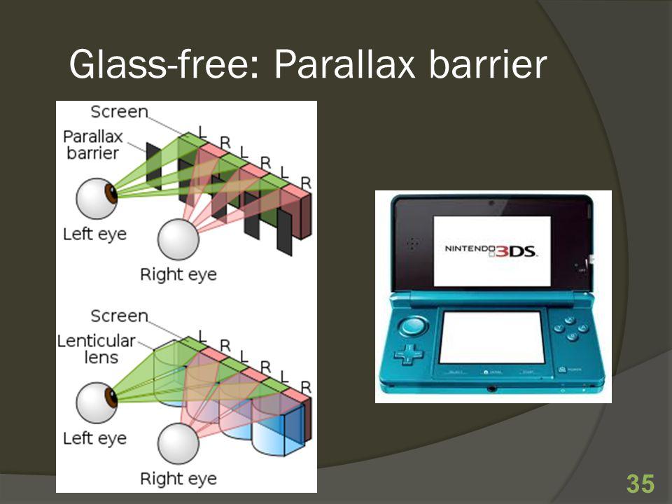 Glass-free: Parallax barrier 35