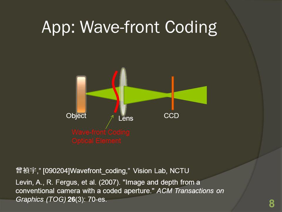App: Wave-front Coding 8 Object Lens CCD Wave-front Coding Optical Element 曾禎宇, [090204]Wavefront_coding, Vision Lab, NCTU Levin, A., R.