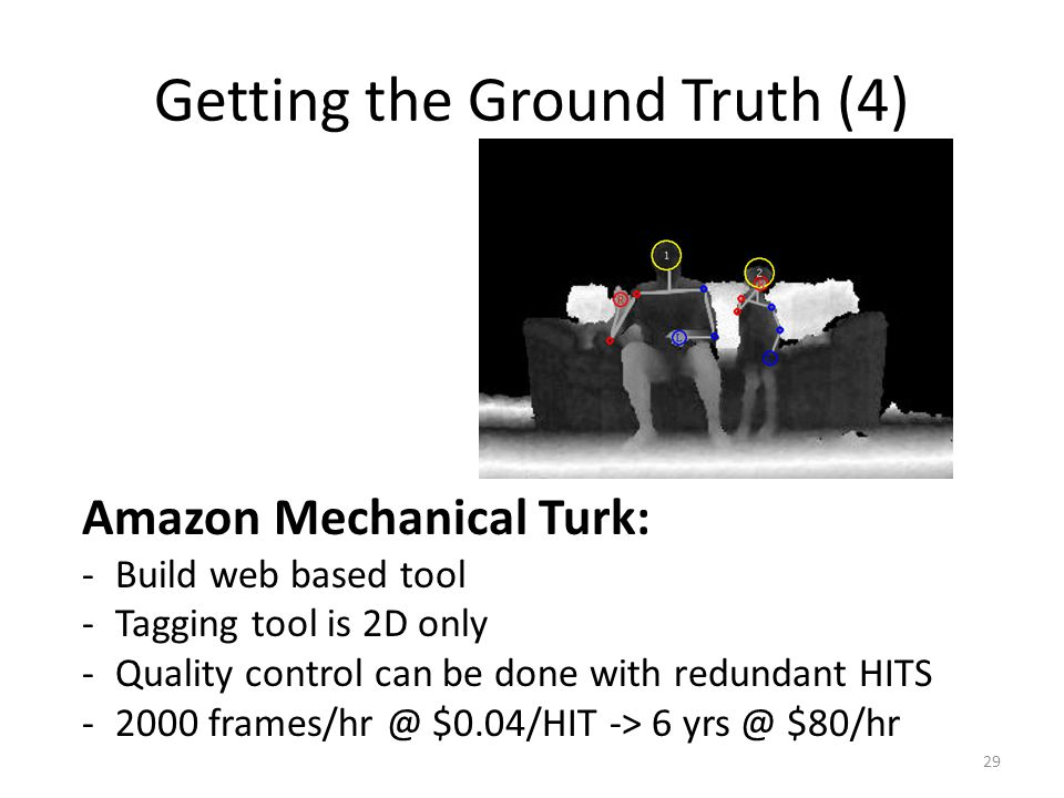 Getting the Ground Truth (4) 29 Amazon Mechanical Turk: -Build web based tool -Tagging tool is 2D only -Quality control can be done with redundant HITS -2000 frames/hr @ $0.04/HIT -> 6 yrs @ $80/hr