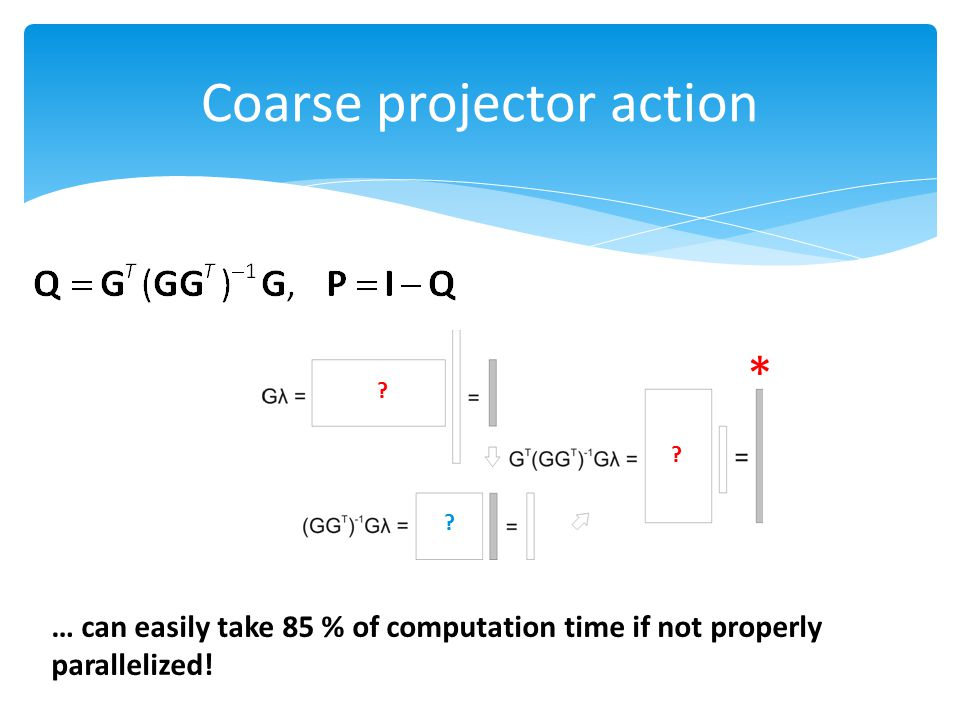 Coarse projector action * … can easily take 85 % of computation time if not properly parallelized! ? ? ?