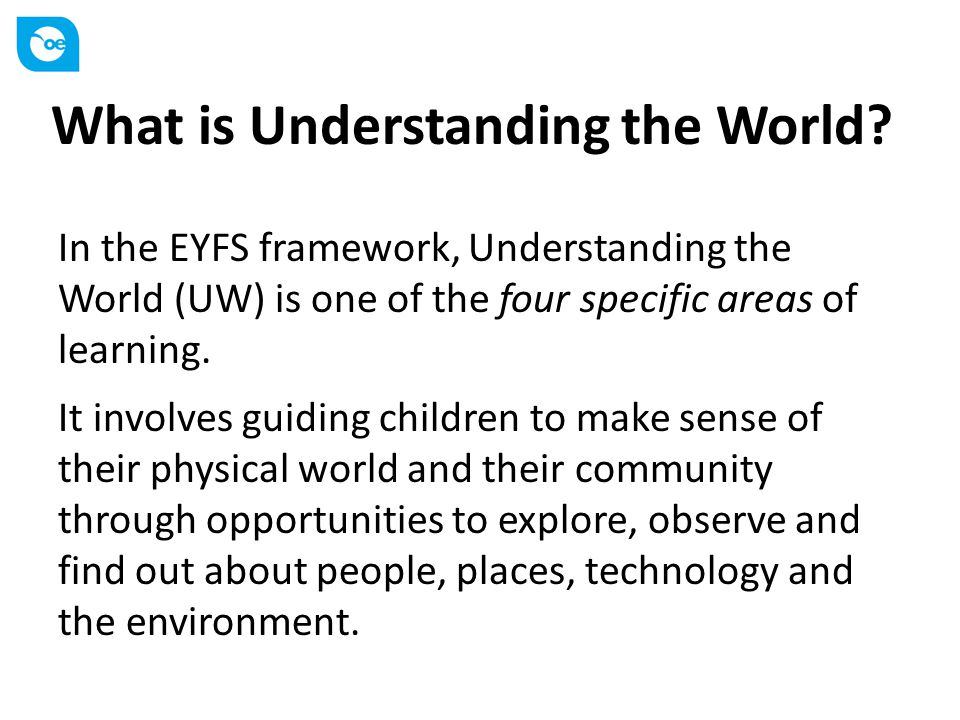 Three aspects of Understanding the World in the EYFS People and communities TechnologyThe world