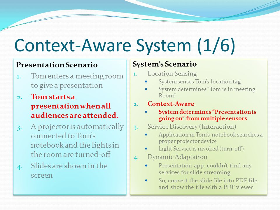 Context-Aware System (1/6) Presentation Scenario 1.