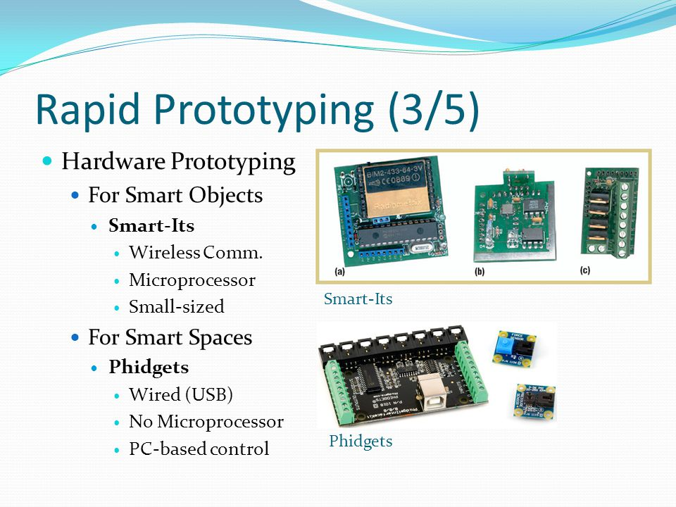 Rapid Prototyping (3/5) Hardware Prototyping For Smart Objects Smart-Its Wireless Comm.