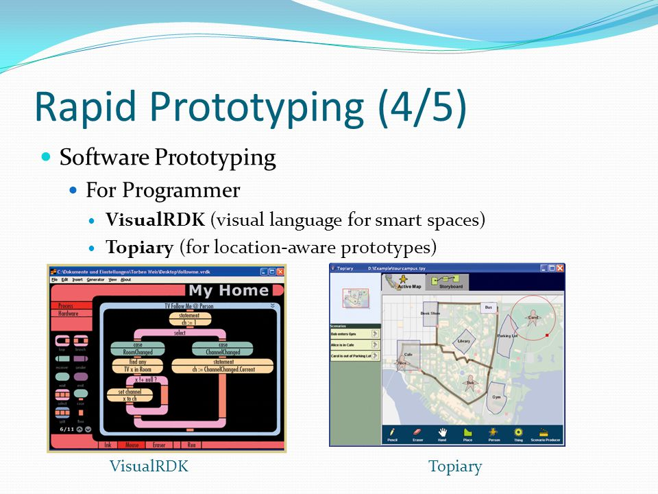 Rapid Prototyping (4/5) Software Prototyping For Programmer VisualRDK (visual language for smart spaces) Topiary (for location-aware prototypes) VisualRDKTopiary