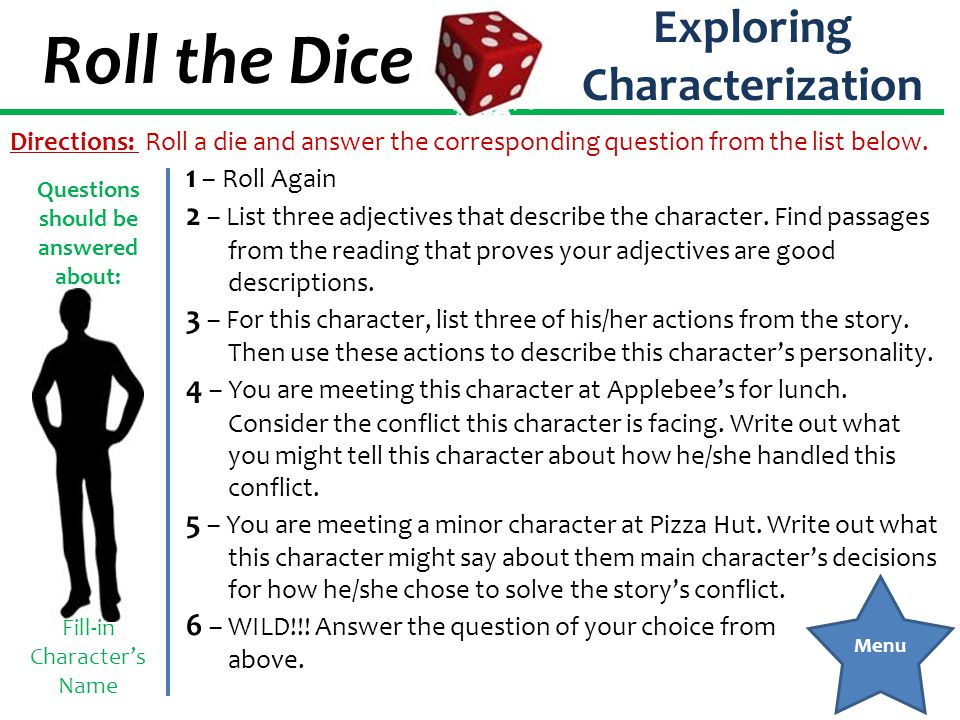 Roll the Dice Exploring Theme 1 – Roll Again 2 – Choose one of the following topics: friendship, prejudice, hope, survival, family.