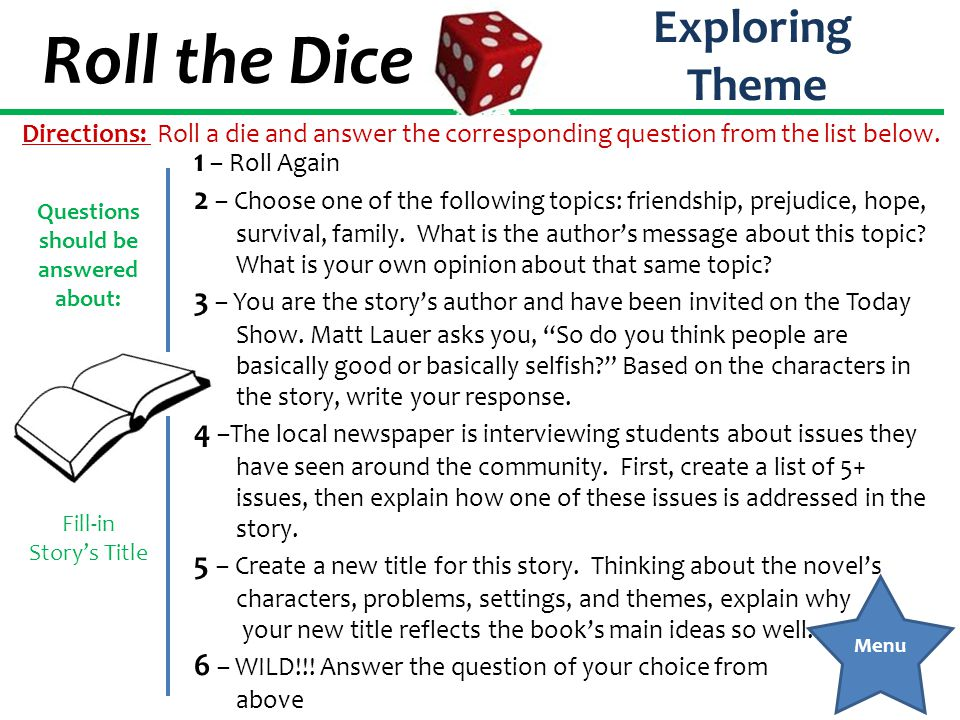Roll the Dice Exploring Theme 1 – Roll Again 2 – Choose one of the following topics: friendship, prejudice, hope, survival, family. What is the author