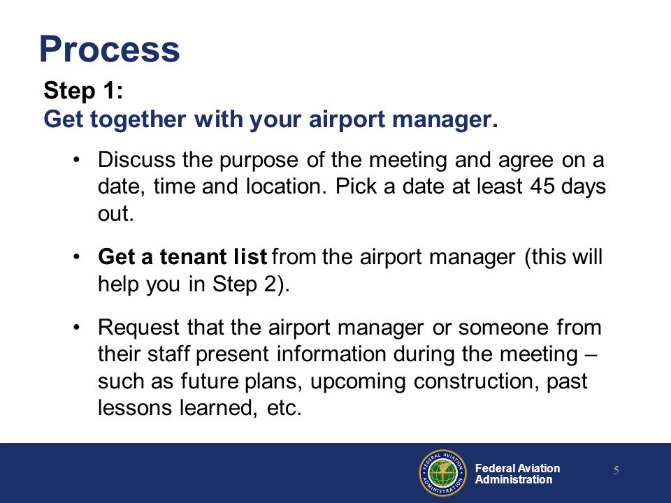 Federal Aviation Administration Process Step 1: Get together with your airport manager.