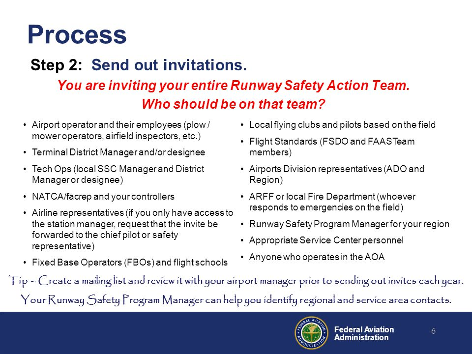 Federal Aviation Administration Process Step 2: Send out invitations. You are inviting your entire Runway Safety Action Team. Who should be on that te