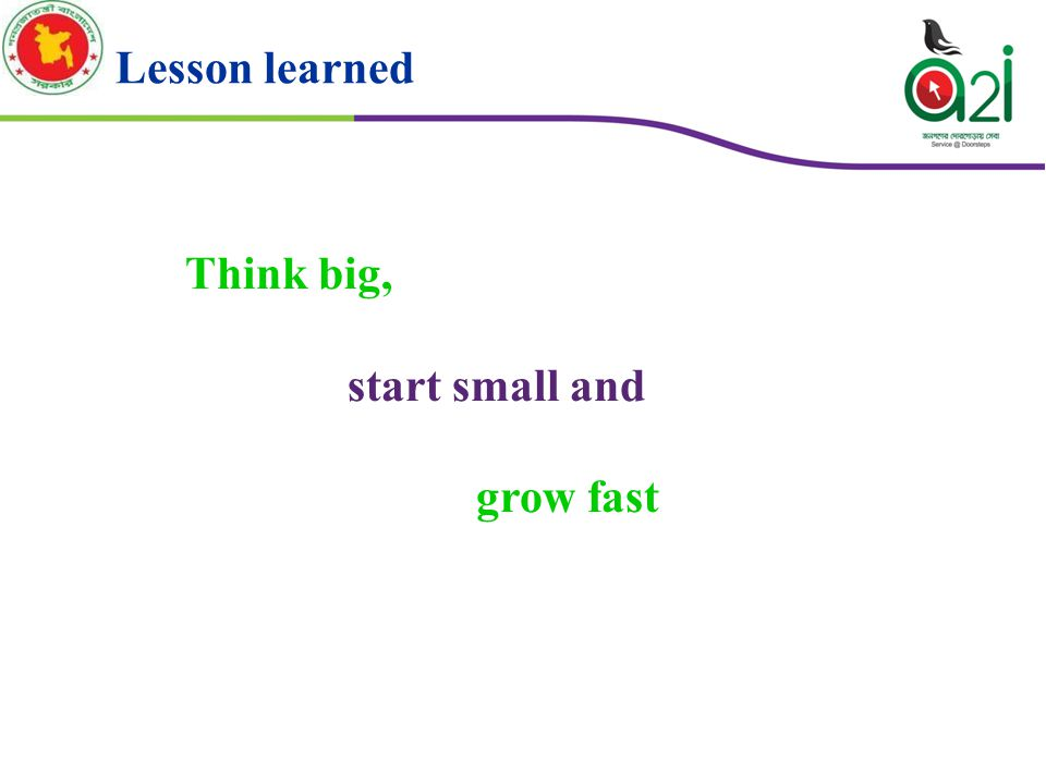 Think big, start small and grow fast Lesson learned