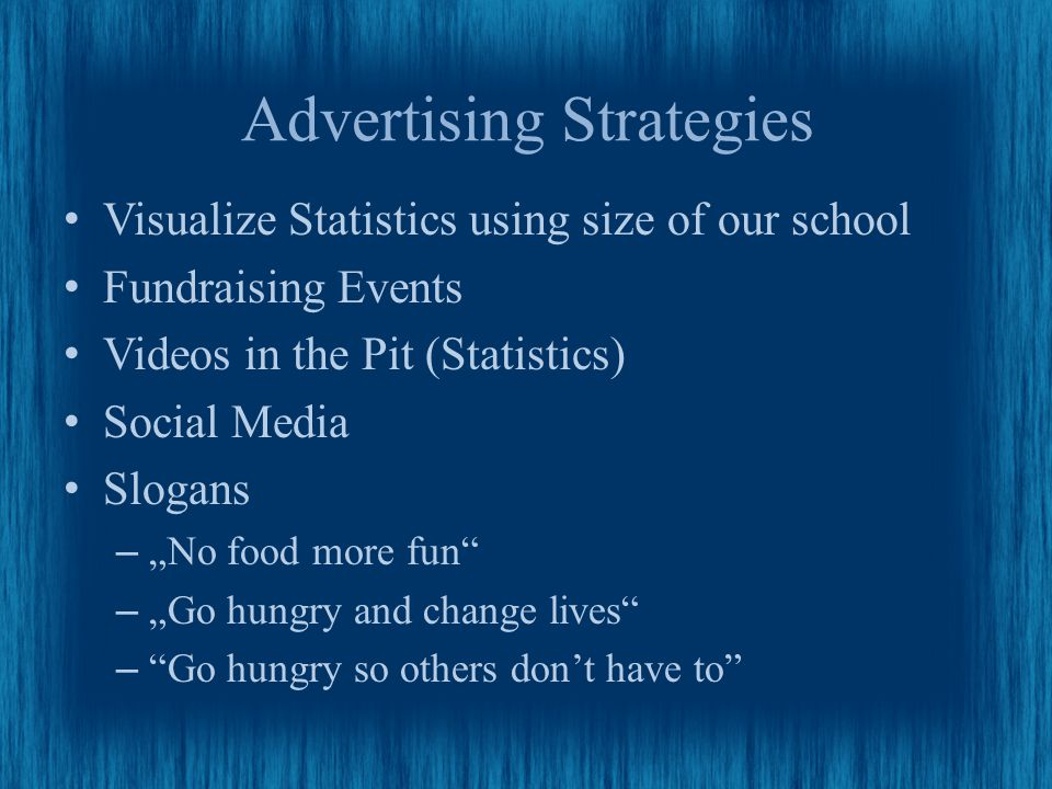 "Advertising Strategies Visualize Statistics using size of our school Fundraising Events Videos in the Pit (Statistics) Social Media Slogans –""No food more fun –""Go hungry and change lives – Go hungry so others don't have to"