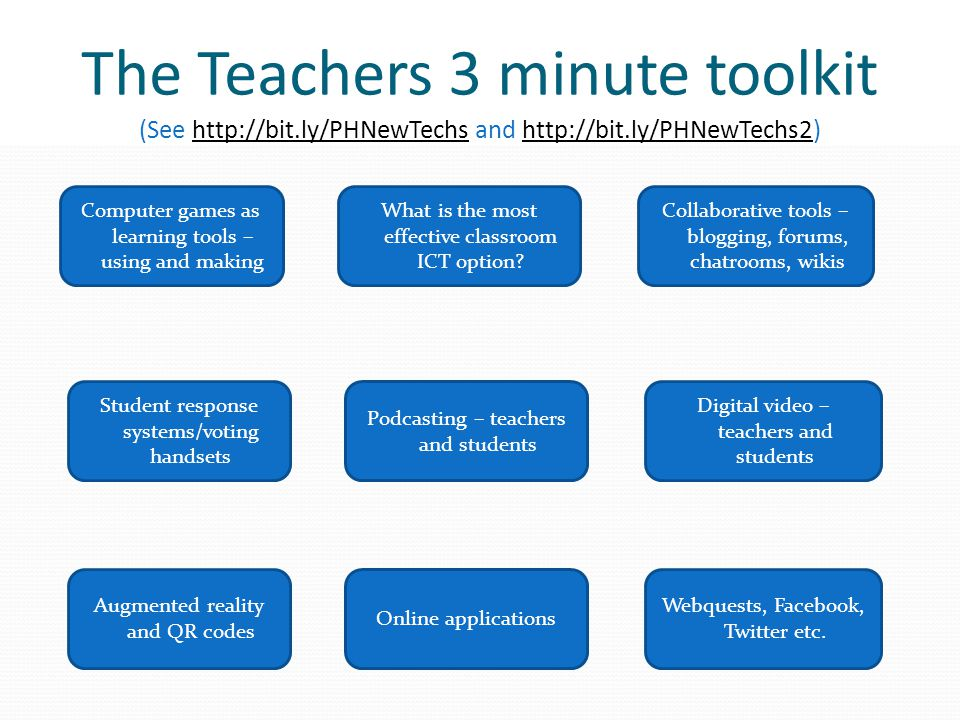 The Teachers 3 minute toolkit (See http://bit.ly/PHNewTechs and http://bit.ly/PHNewTechs2)http://bit.ly/PHNewTechshttp://bit.ly/PHNewTechs2 What is the most effective classroom ICT option.