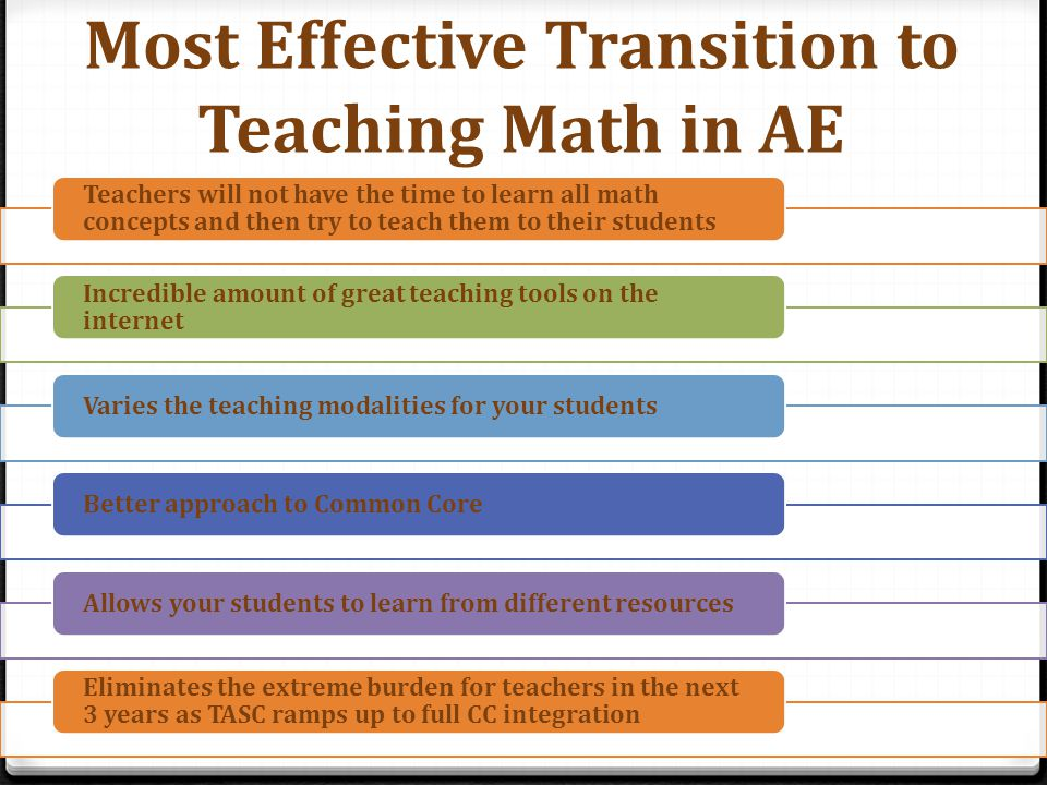Most Effective Transition to Teaching Math in AE Teachers will not have the time to learn all math concepts and then try to teach them to their students Incredible amount of great teaching tools on the internet Varies the teaching modalities for your studentsBetter approach to Common CoreAllows your students to learn from different resources Eliminates the extreme burden for teachers in the next 3 years as TASC ramps up to full CC integration