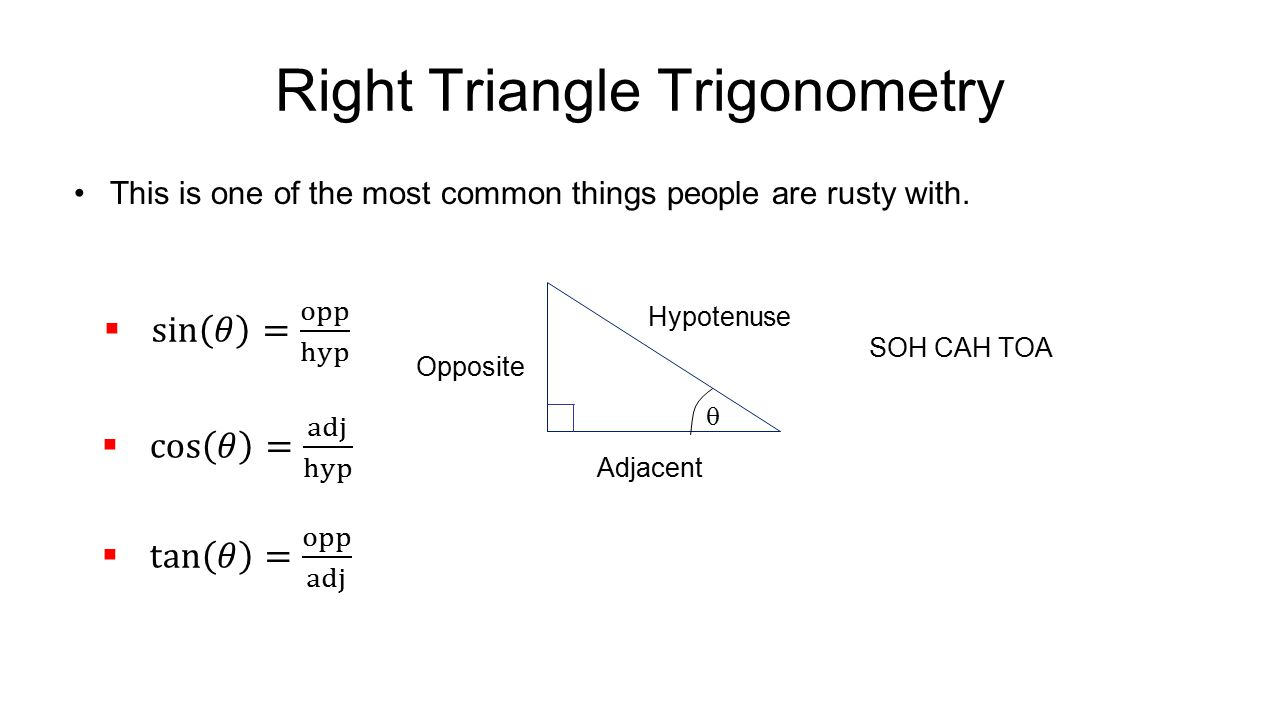 Right Triangle Trigonometry This is one of the most common things people are rusty with.