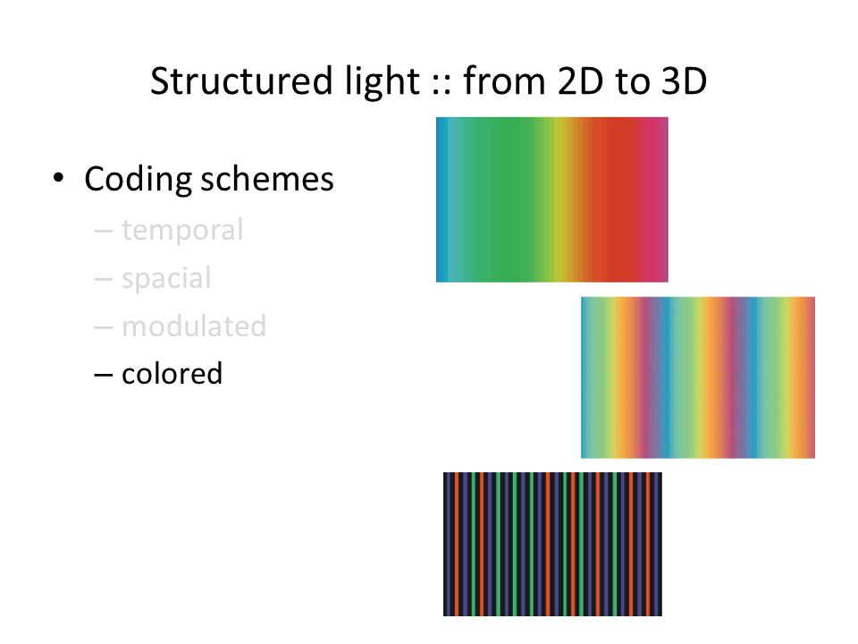 Structured light :: from 2D to 3D Coding schemes – temporal – spacial – modulated – colored