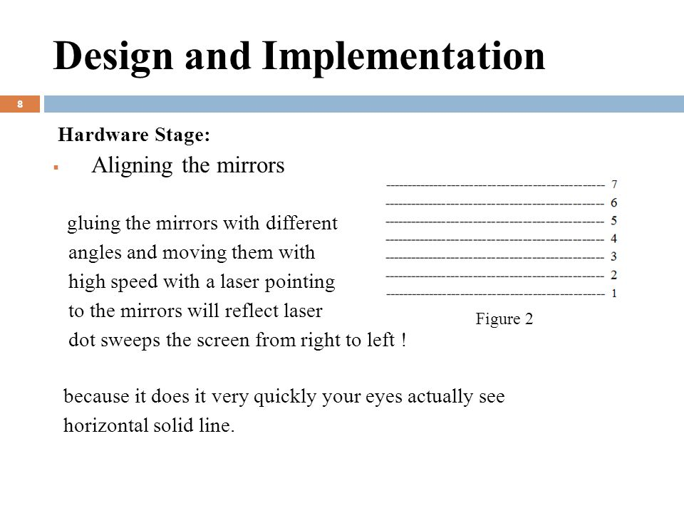 Design and Implementation 8 Hardware Stage:  Aligning the mirrors gluing the mirrors with different angles and moving them with high speed with a laser pointing to the mirrors will reflect laser dot sweeps the screen from right to left .