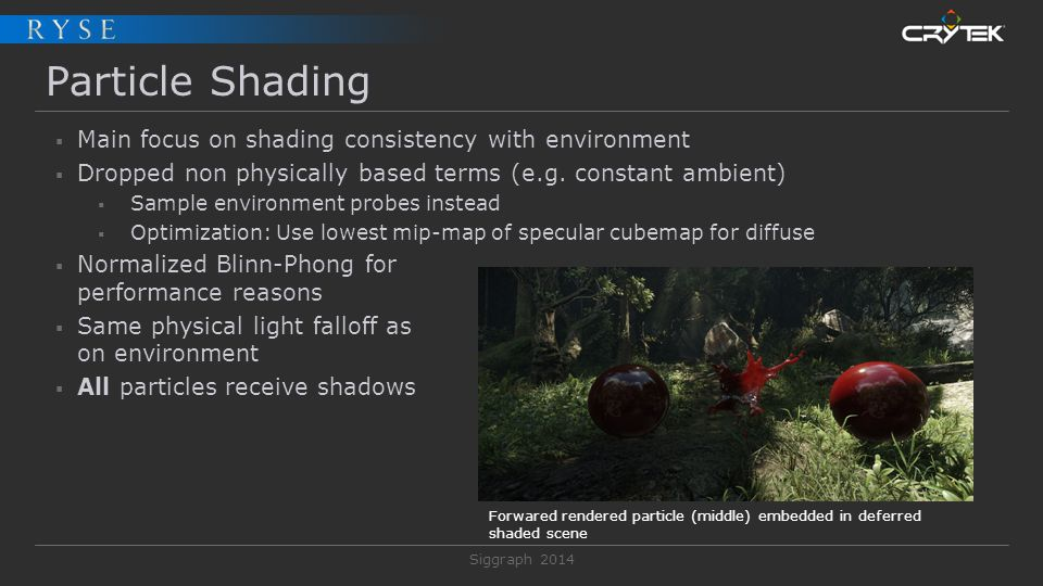 Siggraph 2014 Particle Shading  Main focus on shading consistency with environment  Dropped non physically based terms (e.g. constant ambient)  Sam