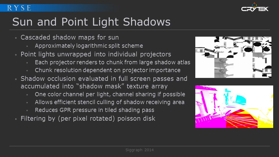 Siggraph 2014 Sun and Point Light Shadows  Cascaded shadow maps for sun  Approximately logarithmic split scheme  Point lights unwrapped into indivi